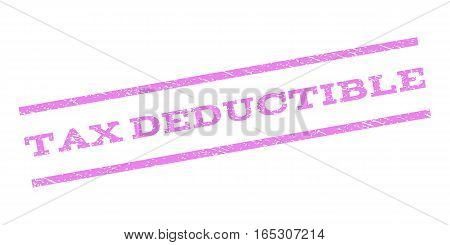 Tax Deductible watermark stamp. Text caption between parallel lines with grunge design style. Rubber seal stamp with dirty texture. Vector violet color ink imprint on a white background.