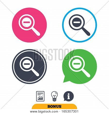 Magnifier glass sign icon. Zoom tool button. Navigation search symbol. Report document, information sign and light bulb icons. Vector