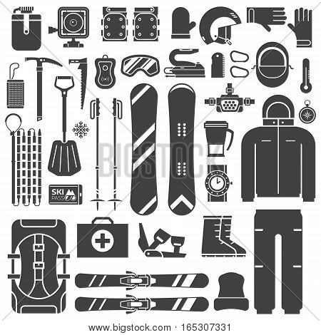 Mountain skiing and snowboarding equipment outline icons. Ski gear snowboard accessories. Jumpsuit, skis, rescue kit and other winter sports and activity elements. Snow ride essentials collection.