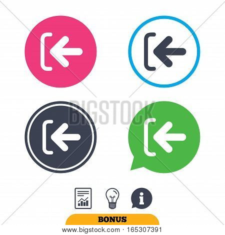 Login sign icon. Sign in symbol. Arrow. Report document, information sign and light bulb icons. Vector