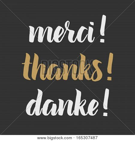 Thank you phrase, Hand drawn chalk lettering, photo overlay in vintage style. Thanks, merci, danke in english, french, german. Modern brush calligraphy for greeting card, t-shirt, prints and posters