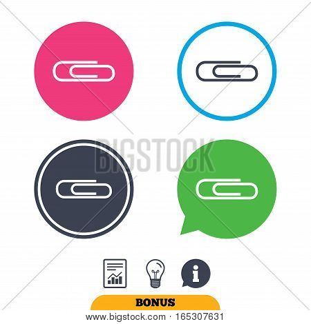 Paper clip sign icon. Clip symbol. Report document, information sign and light bulb icons. Vector