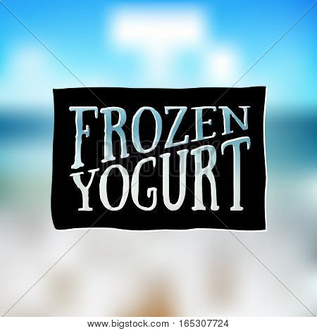 Ice Cream and Frozen Yogurt Logo. Vector vintage Emblem. Summer Logo design element. Retro label for Creamery