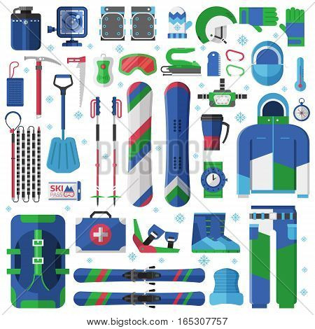 Mountain skiing and snowboarding equipment. Ski gear snowboard accessories. Jumpsuit, skis, avalanche rescue kit and other winter sports and activity elements. Snow free ride essentials collection.