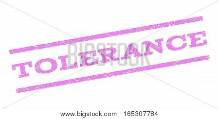 Tolerance watermark stamp. Text tag between parallel lines with grunge design style. Rubber seal stamp with scratched texture. Vector violet color ink imprint on a white background.