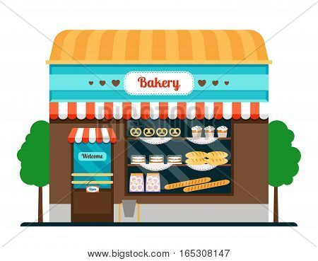 Bakery shop front veiw flat icon. Bakery facade vector illustration