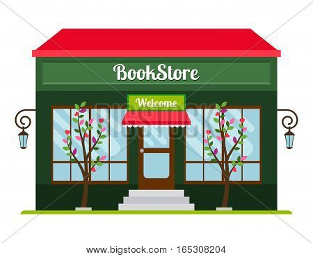 Book store facade colored flat icon. Book shop front veiw vector illustration