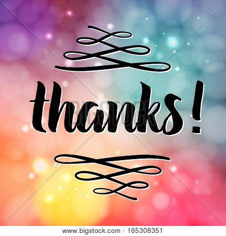 Thank you phrase for social media, Hand drawn lettering, photo overlay in vintage style. Vector modern brush calligraphy for greeting card, t-shirt, prints and posters
