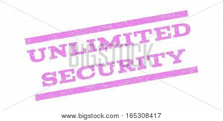 Unlimited Security watermark stamp. Text caption between parallel lines with grunge design style. Rubber seal stamp with dust texture. Vector violet color ink imprint on a white background.