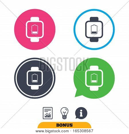 Smart watch sign icon. Wrist digital watch. Low battery energy symbol. Report document, information sign and light bulb icons. Vector