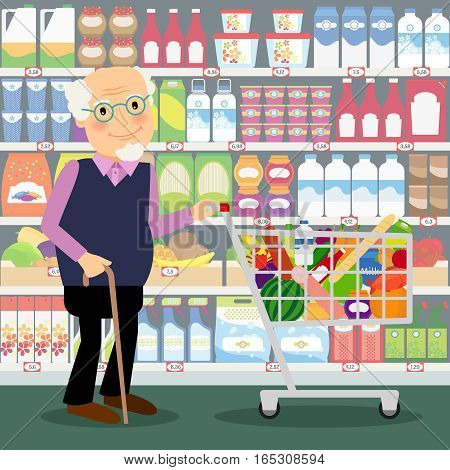 Grandfather in shop. Elderly man in store with shopping cart full of groceries vector illustration