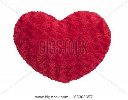red silk pillow with heart shape isolated on whitewith clipping path