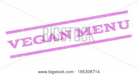 Vegan Menu watermark stamp. Text tag between parallel lines with grunge design style. Rubber seal stamp with dust texture. Vector violet color ink imprint on a white background.