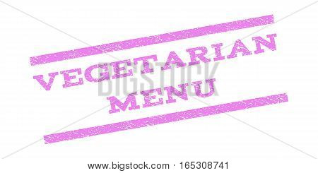 Vegetarian Menu watermark stamp. Text caption between parallel lines with grunge design style. Rubber seal stamp with scratched texture. Vector violet color ink imprint on a white background.