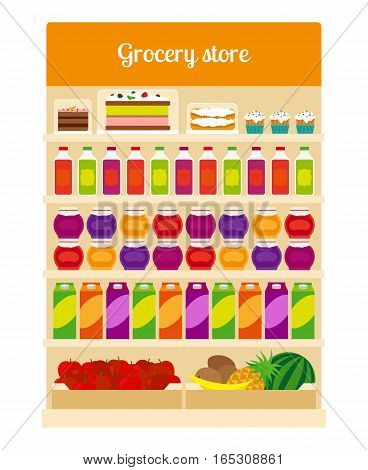 Products on groceries store shelves. Cakes, fruits and juice products in shop with inscription. Vector illustration