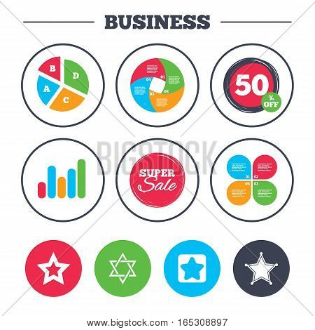 Business pie chart. Growth graph. Star of David icons. Sheriff police sign. Symbol of Israel. Super sale and discount buttons. Vector