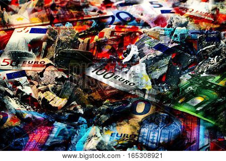 embers and fire with burning paper euro banknotes as an illustration of the financial crisis