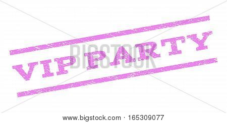 Vip Party watermark stamp. Text tag between parallel lines with grunge design style. Rubber seal stamp with dirty texture. Vector violet color ink imprint on a white background.