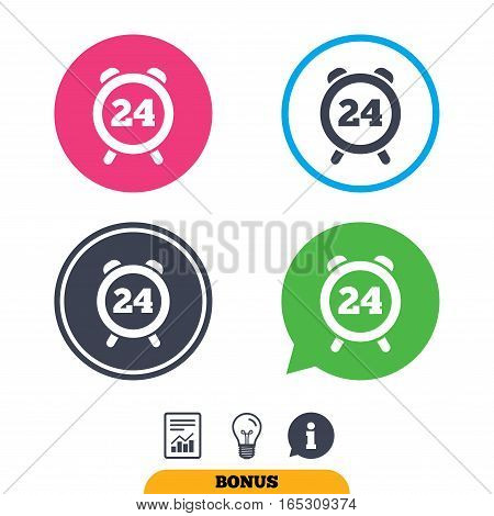24 hours time sign icon. Clock alarm symbol. Customer support service. Report document, information sign and light bulb icons. Vector
