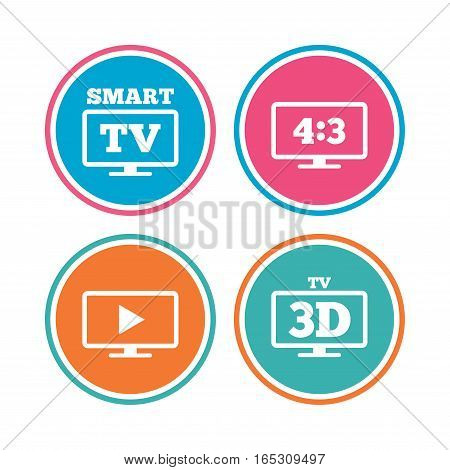 Smart TV mode icon. Aspect ratio 4:3 widescreen symbol. 3D Television sign. Colored circle buttons. Vector