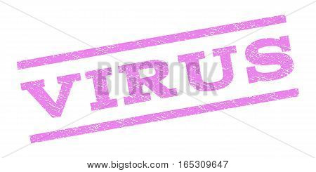 Virus watermark stamp. Text caption between parallel lines with grunge design style. Rubber seal stamp with scratched texture. Vector violet color ink imprint on a white background.