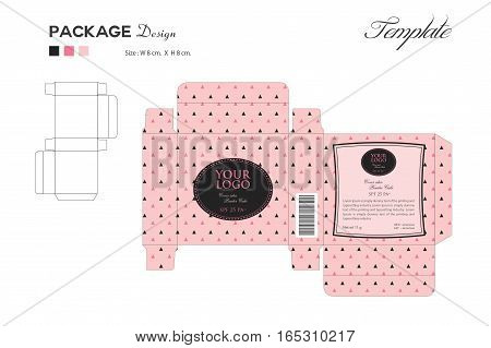 package puff powder skin color, box outline pink background, vector illustration