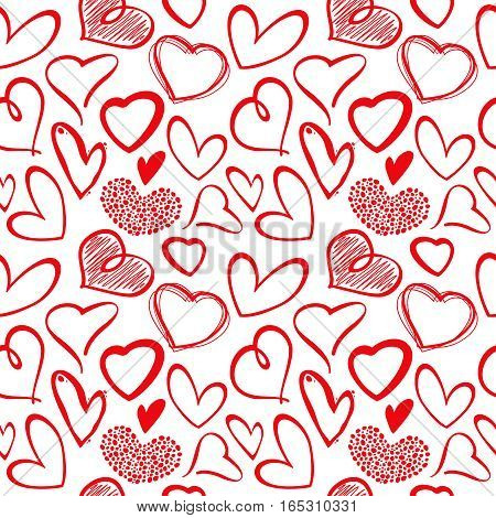 Love heart seamless vector pattern. Seamless vintage background with sketch hearts, illustration of artistic drawing heart