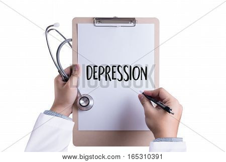 DEPRESSION miserable depressed Depression and its consequences Depressed emotions concept alone in depression poster