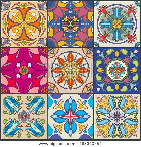 Vector patchwork seamless wall tile pattern, ceramic mexican tiles. Traditional mosaic tile for floor or wall, illustration of floral tiles