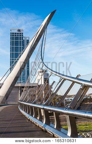 SAN DIEGO, CALIFORNIA - JANUARY 8, 2017:  The Harbor Drive pedestrian self-anchored suspension bridge,