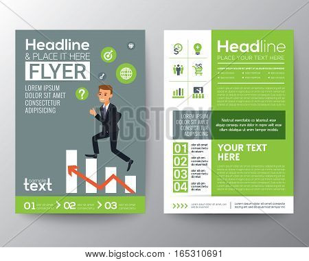 brochure flyer design layout template in A4 size with businessman climbing on red arrow stair chart