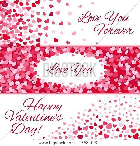 Valentines day sale vector love banners set with origami purple hearts on white background
