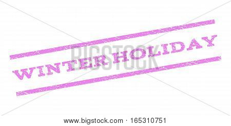 Winter Holiday watermark stamp. Text caption between parallel lines with grunge design style. Rubber seal stamp with dirty texture. Vector violet color ink imprint on a white background.