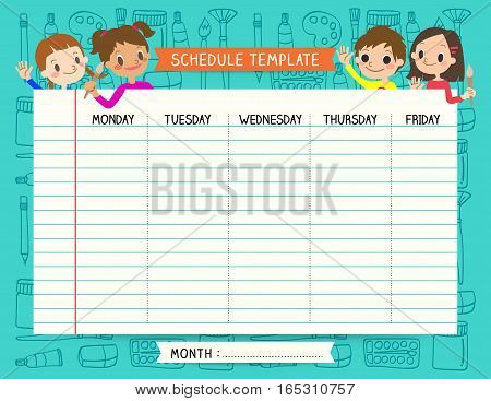 School plan schedule template memos set for children with art palette background