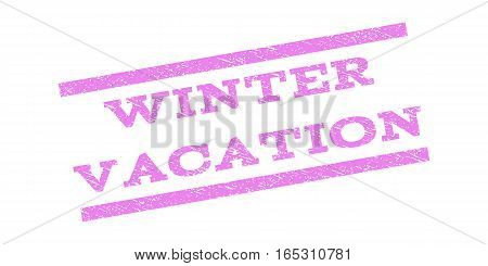Winter Vacation watermark stamp. Text caption between parallel lines with grunge design style. Rubber seal stamp with unclean texture. Vector violet color ink imprint on a white background.