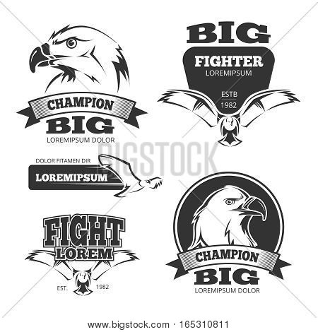 Military eagle heraldry vector labels, logos. Emblems with eagle and vintage decoration with mascot eagle illustration