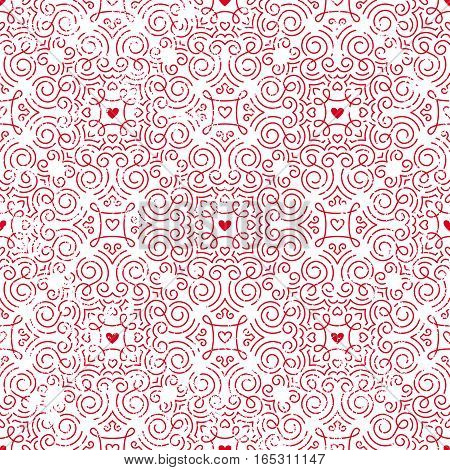 Seamless ornate pattern with hearts. Retro background for Valentines Day, wedding, etc. EPS10 vector illustration with grunge texture.