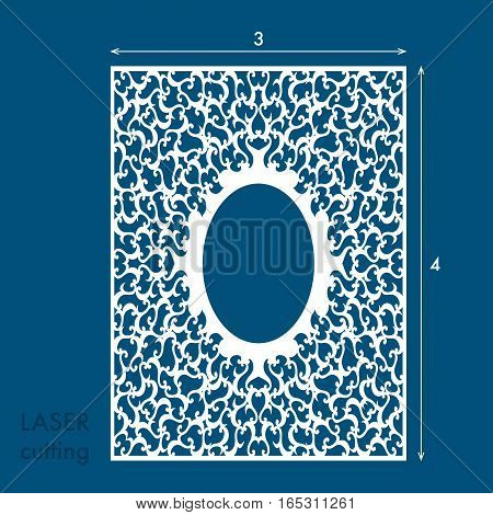 Laser cut panel with swirls. Laser cutting template for diy greeting cards envelopes wedding invitations decorative elements