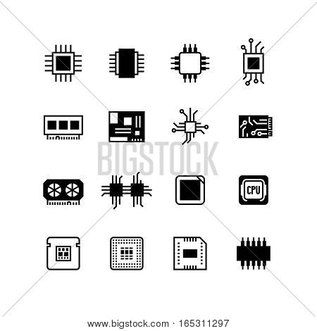 Computer electronic chips, motherboard, hardware processor vector. Set of computer processor icons, illustration of chip processor