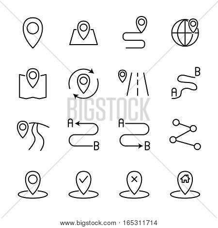 Set of route in modern thin line style. High quality black outline pin symbols for web site design and mobile apps. Simple linear route pictograms on a white background.
