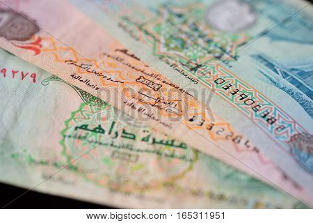 Background of the UAE Dirhams close up