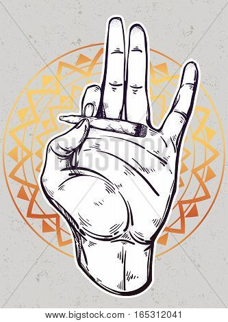 Human hand holding a weed joint or spliff or tabacco cigarette. Drug or tabacco consumption, marijuana use silhouette clip art. Concept design, Elegant tattoo artwork. Isolated vector illustration.