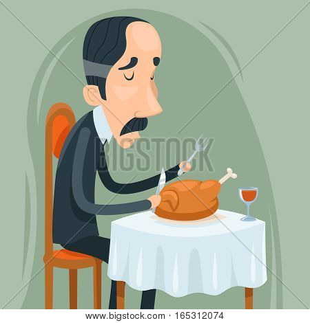 Gaunt Aristocrat Man Eat Roasted Chicken Wine Character Icon on Stylish Background Cartoon Design Vector Illustration
