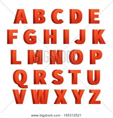 Red 3d letters vector alphabet, lettering. Design of red abc for typography, abc letters vintage for poster illustration