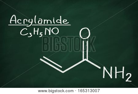 Structural model of Acrylamide on the blackboard.