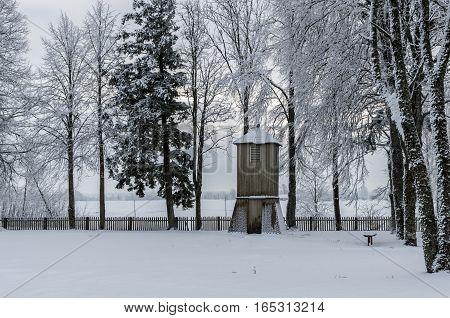Old Belfry In Winter Period.