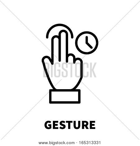 Gesture icon or logo in modern line style. High quality black outline pictogram for web site design and mobile apps. Vector illustration on a white background.