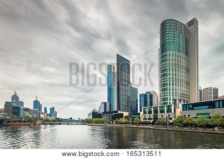 Melbourne City Business District view and the Yarra River