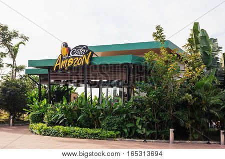 Udon Thani THAILAND - Dec 13 : Cafe Amazon beverage shop at PTT Oil station on Dec 13 2016 in Udon Thani THAILAND. It's a famous Thai franchise coffee house in Thailand.