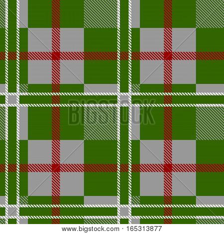 Seamless Pattern Similar to the Scottish Tartan. Executed in Gray, Red and Green Colors.
